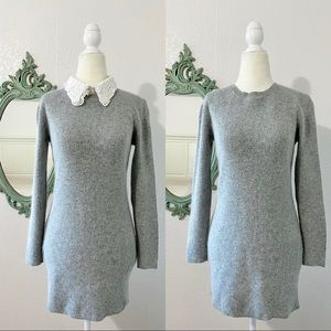 Embroidered Removable Collared Sweater Knit Dress